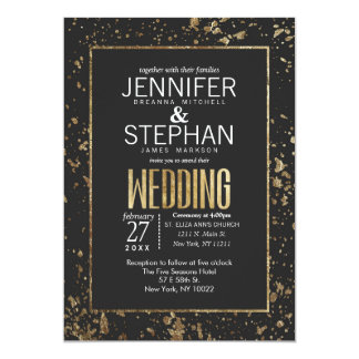 Gold Paint Splatters Wedding Invitations