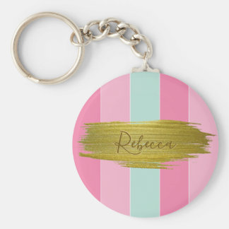 Gold Paint Stroke Colorful Stripes - Keychain