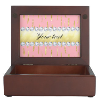 Gold Paint Strokes and Diamonds Pink Keepsake Box