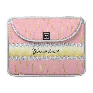 Gold Paint Strokes and Diamonds Pink MacBook Pro Sleeves