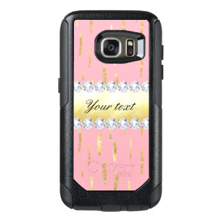 Gold Paint Strokes and Diamonds Pink OtterBox Samsung Galaxy S7 Case