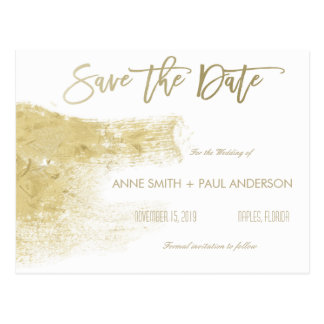 Gold paint swatch Save the Date Postcard