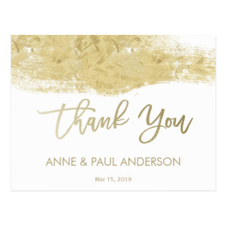Gold paint swatch Thank You Card Postcard