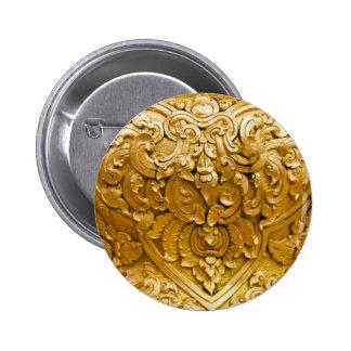 Gold painted,antique wood work,vintage,elegant, 6 cm round badge