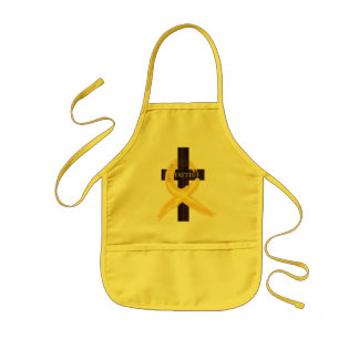Gold Painted Cancer Ribbon Kids Apron