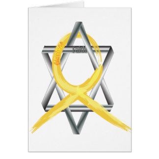 """Gold """"Painted"""" Childhood Cancer Ribbon Card"""