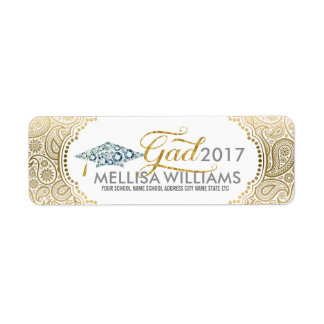 Gold Paisley Diamonds Grad hat & Modern Typography Return Address Label