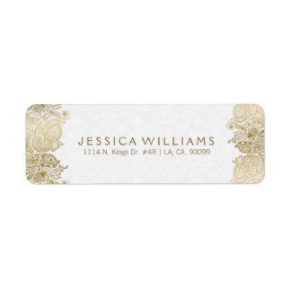 Gold Paisley Lace On White Return Address Label