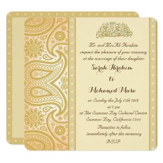 gold paisley muslim wedding card - Muslim Wedding Invitations