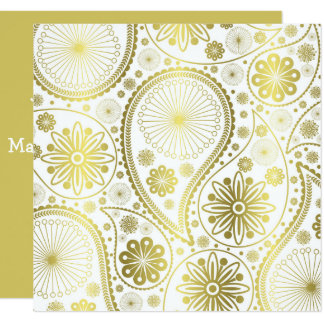 Gold paisley pattern card