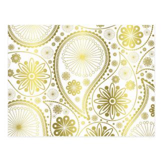 Gold paisley pattern postcard