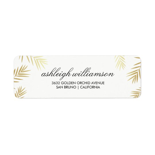 Gold Palm Leaves on White | Tropical Wedding Return Address Label