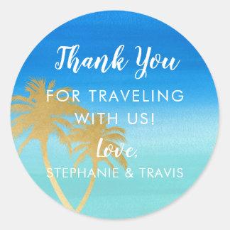 Gold Palm Tree & Aqua Watercolor Beach Destination Classic Round Sticker