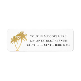 Gold Palm Tree for Beach Destination Wedding Return Address Label