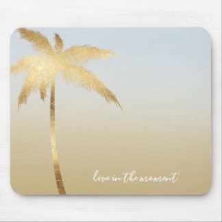 Gold Palm Tree Ombre Mouse Pad