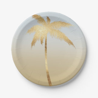Gold Palm Tree Ombre Paper Plate