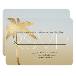 Gold Palm Tree Ombre RSVP Card