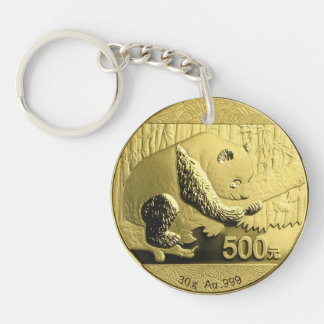 Gold Panda coin Double-Sided Round Acrylic Key Ring
