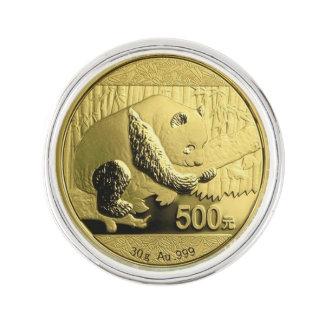 Gold Panda coin Lapel Pin