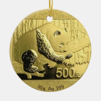 Gold Panda coin Round Ceramic Decoration
