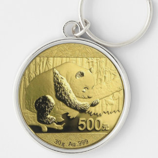 Gold Panda coin Silver-Colored Round Key Ring