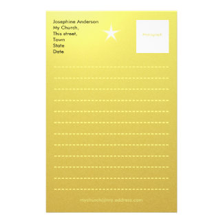 Gold Paper Template Personalized Stationery