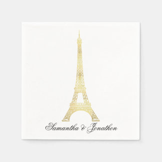 Gold Parisian Eiffel Tower Wedding Custom Napkins Paper Serviettes