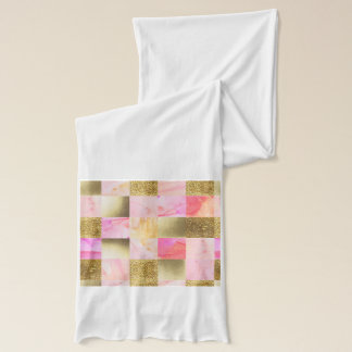 gold,pastels,water colors,squares,collage,modern,t scarf