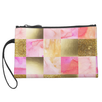 gold,pastels,water colors,squares,collage,modern,t suede wristlet