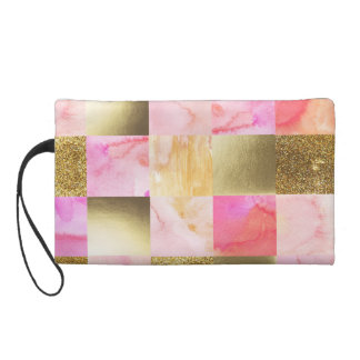 gold,pastels,water colors,squares,collage,modern,t wristlet