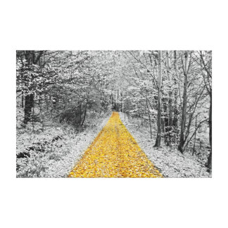 Gold Path Winter Scenery wrapped canvas Stretched Canvas Print