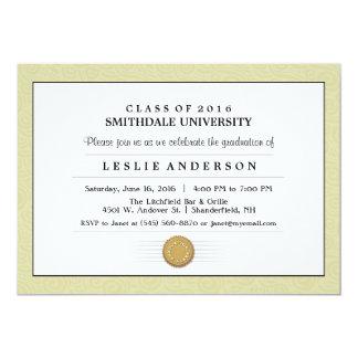 Gold Pattern Border Diploma Graduation Invitation