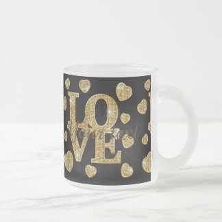 Gold,pattern,love,black,trendy,girly,chic,happy,te Frosted Glass Mug