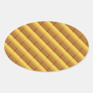 Gold Pattern Oval Sticker