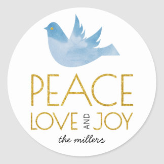 Gold Peace, Love, Joy blue dove Christmas Classic Round Sticker