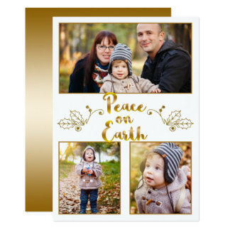 Gold Peace on Earth Modern Calligraphy Photo Card