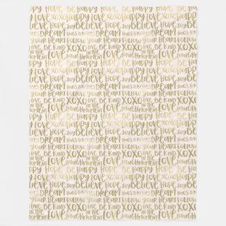 Gold Peach Inspirational Words Fleece Blanket