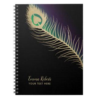 Gold Peacock Bird Feather Black Green & Purple Notebook