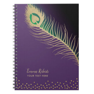 Gold Peacock Bird Feather Elegant Purple with Name Notebook