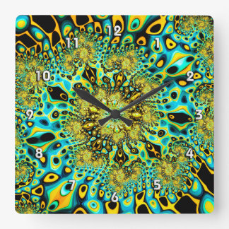 Gold Peacock Brago-Mitchell Fine Fractal Art Square Wall Clock