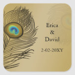 gold peacock envelopes seals square stickers