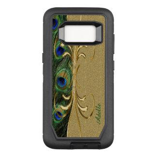 Gold Peacock Feather Custom Monogram OtterBox Defender Samsung Galaxy S8 Case