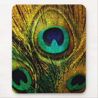 Gold Peacock Feather Pattern Mouse Pad