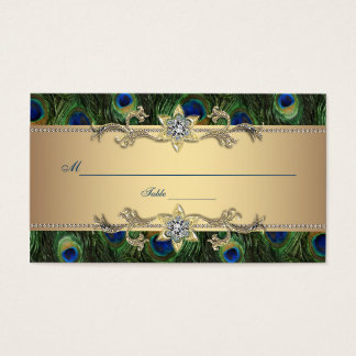 Gold Peacock Seating Place Cards