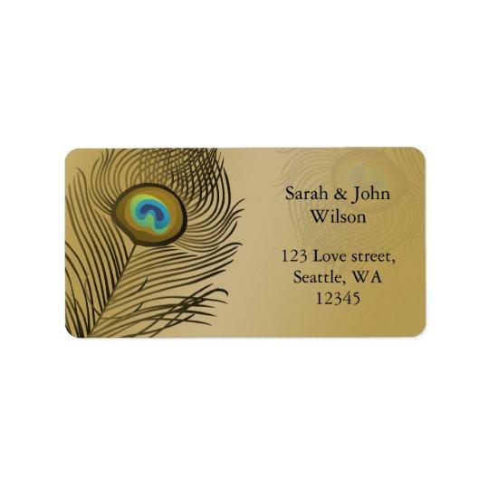 gold peacock wedding label