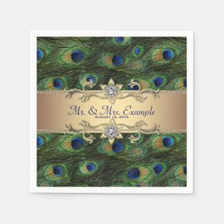 Gold Peacock Wedding Paper Serviettes