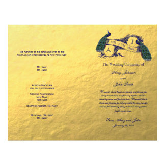 Gold Peacock Wedding Program Flyer