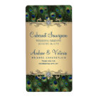 Gold Peacock Wedding Wine Labels