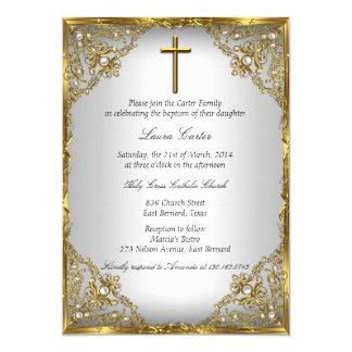 Gold Pearl Damask & Cross Baptism/Christening 13 Cm X 18 Cm Invitation Card