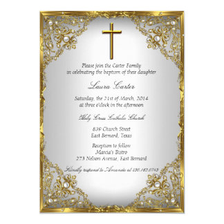 Gold Pearl Damask & Cross Baptism/Christening 5x7 Paper Invitation Card